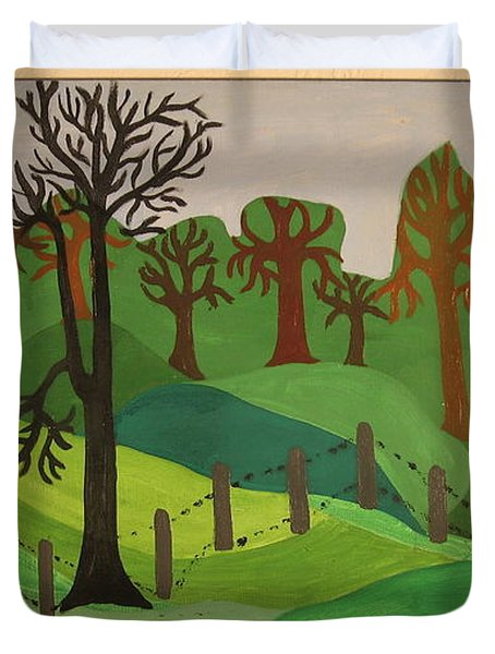 Duvet Cover featuring the painting Forest Moderna by Erika Chamberlin