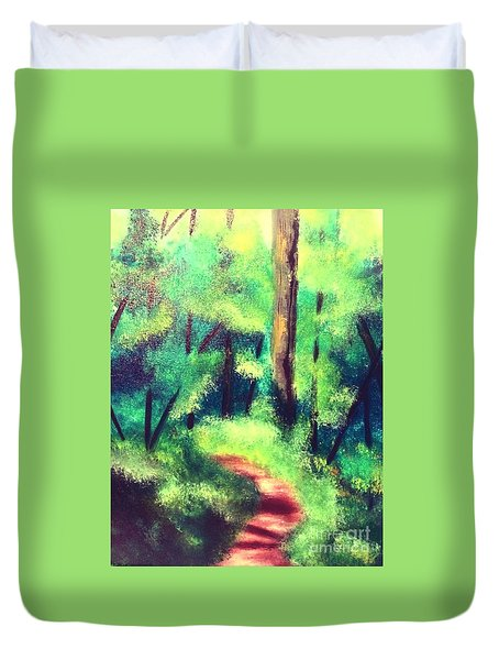 Duvet Cover featuring the painting Forest Path by Denise Tomasura
