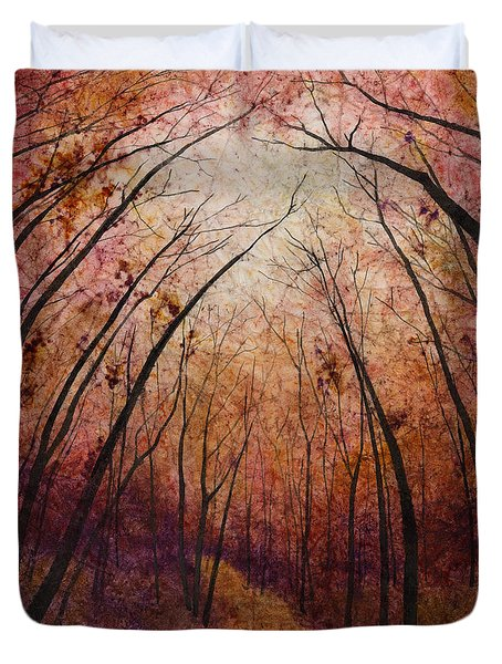 Duvet Cover featuring the painting Forest Path by Hailey E Herrera