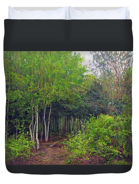 Forest Path Leading Into The Forest Duvet Cover