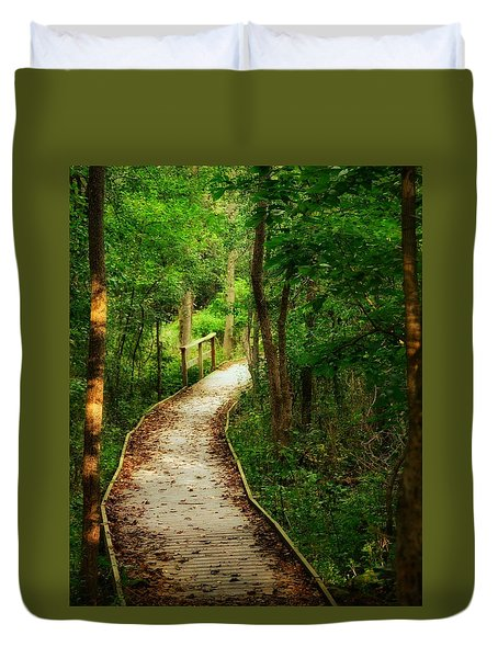 Duvet Cover featuring the photograph Forest Path by Nikki McInnes