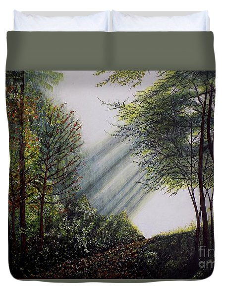 Duvet Cover featuring the painting Forest Pathway by Judy Kirouac