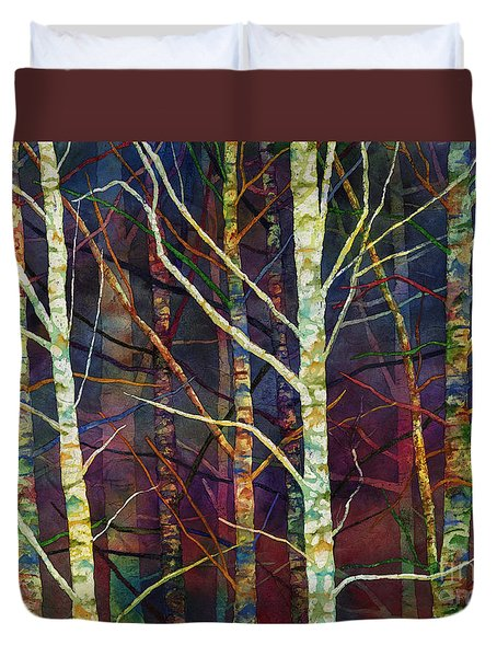 Duvet Cover featuring the painting Forest Rhythm by Hailey E Herrera