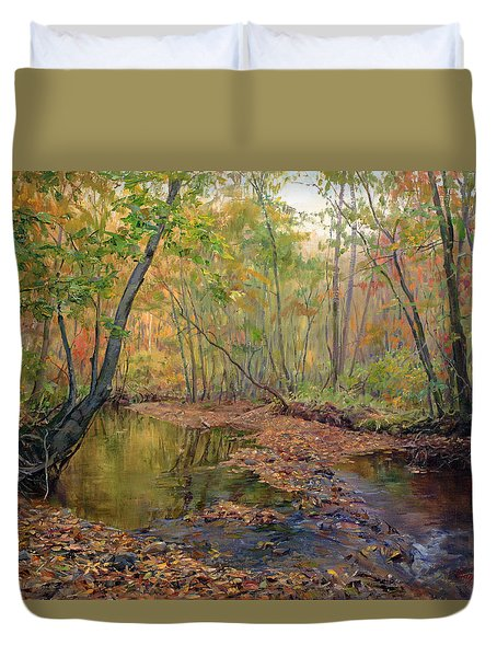 Forest River In Early Fall Duvet Cover