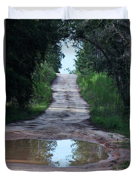 Forest Road And Puddle Duvet Cover