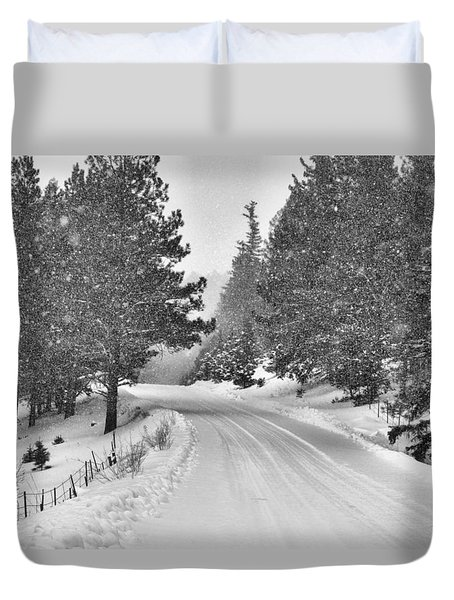 Forest Road In The Snow Duvet Cover
