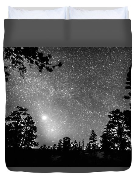 Forest Silhouettes Constellation Astronomy Gazing Duvet Cover by James BO  Insogna
