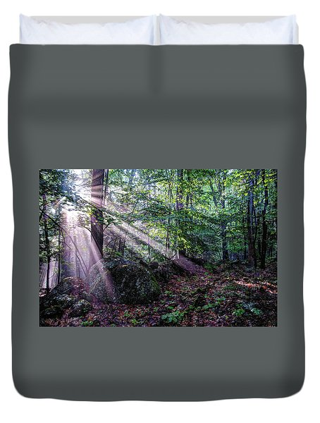 Duvet Cover featuring the photograph Forest Sunbeams by Wayne Marshall Chase