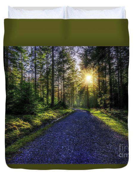 Duvet Cover featuring the photograph Forest Sunlight by Ian Mitchell