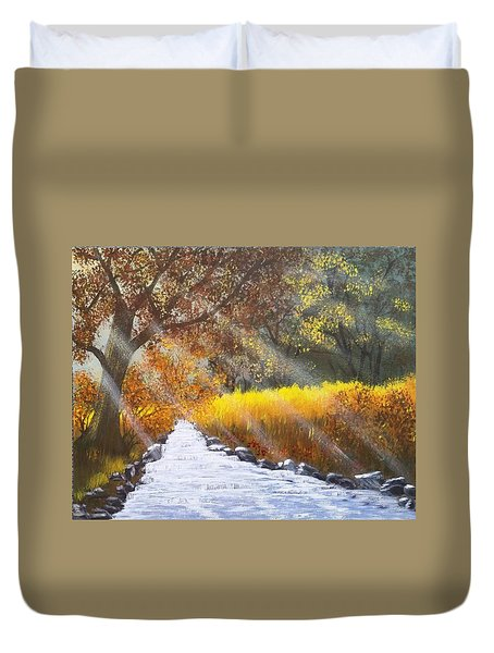 Forest Sunrays Over Water Duvet Cover