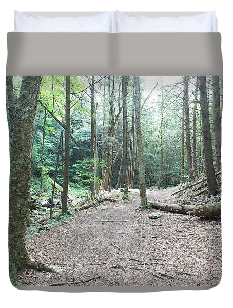 Forest Trail Along Brook Duvet Cover