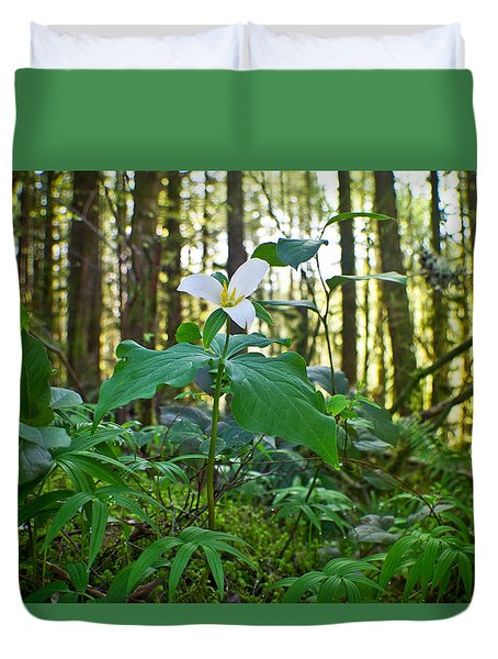 Forest Trillium Duvet Cover by Adria Trail