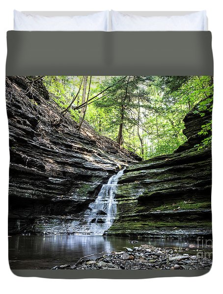 Duvet Cover featuring the photograph Forest Waterfall by MGL Meiklejohn Graphics Licensing