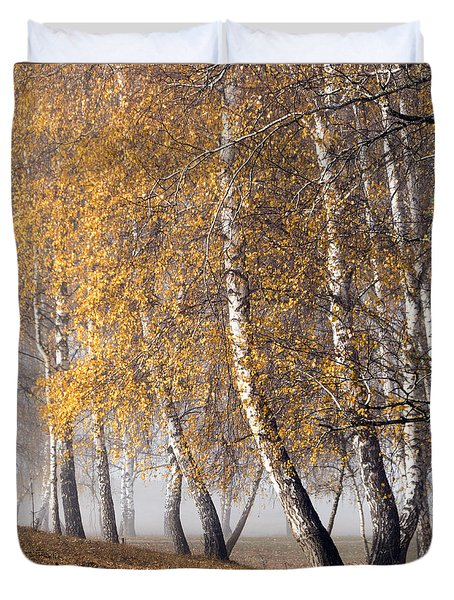 Forest With Birches In The Autumn Duvet Cover