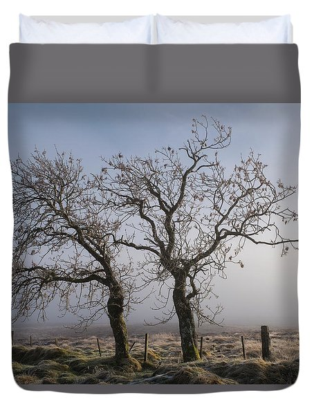 Duvet Cover featuring the photograph Forever Buddies Facing The Fog by Jeremy Lavender Photography