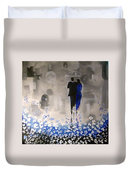 Duvet Cover featuring the painting Forever Love by Raymond Doward