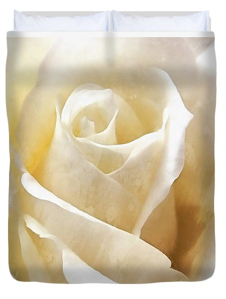 Duvet Cover featuring the photograph Forever More - Ivory Rose by Janine Riley