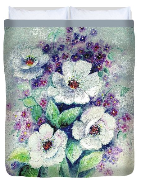 Forget-me-knots And Roses Duvet Cover by Hazel Holland