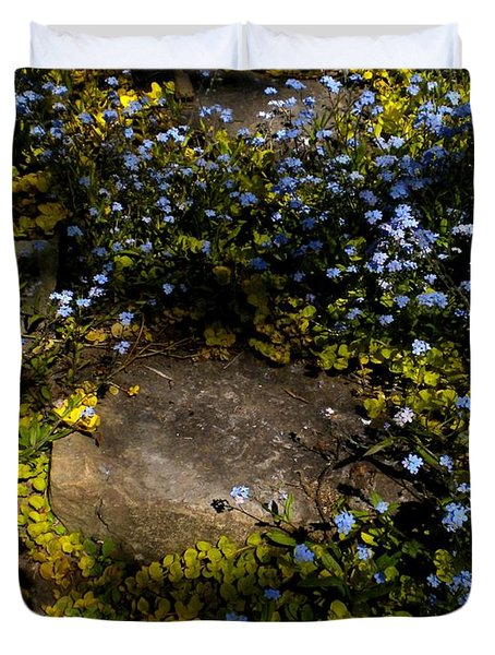 Duvet Cover featuring the painting Forget-me-nots 1 by Renate Nadi Wesley