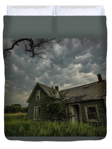 Duvet Cover featuring the photograph Forgotten Mammatus  by Aaron J Groen