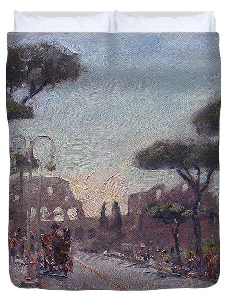 Fori Romani - Street To Colosseo Duvet Cover