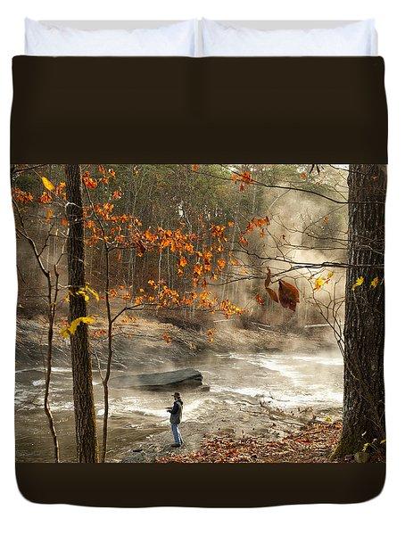 Fork River In Fall Duvet Cover