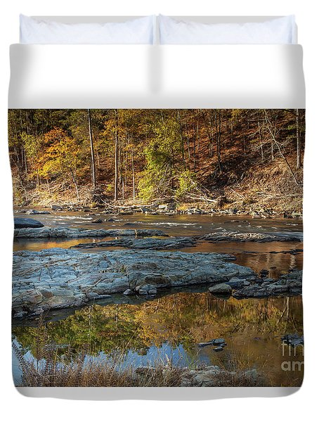 Duvet Cover featuring the photograph Fork River Reflection In Fall by Iris Greenwell