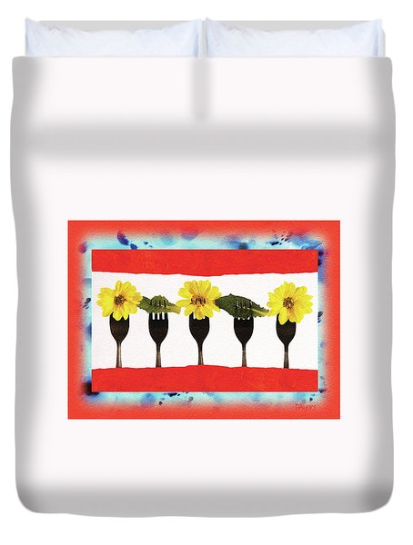 Duvet Cover featuring the digital art Forks And Flowers by Paula Ayers