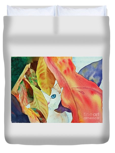 Duvet Cover featuring the painting Forlorn Feline by Terri Mills