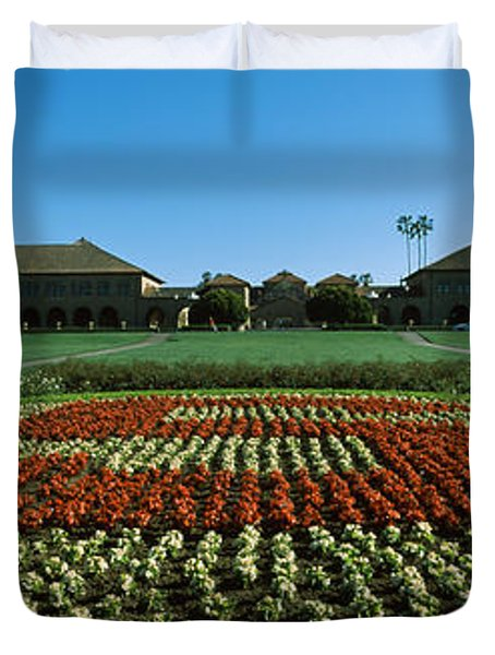 Formal Garden At The University Campus Duvet Cover by Panoramic Images
