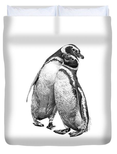 Forrest And Jenny The Penguins Duvet Cover by Abbey Noelle