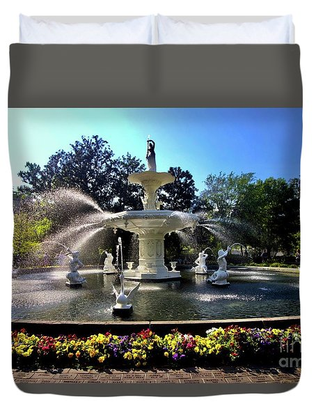 Forsyth Fountain In Spring Duvet Cover
