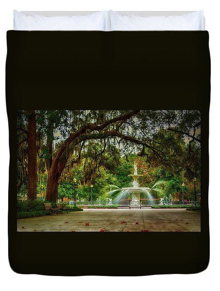 Forsyth Park Fountain Duvet Cover