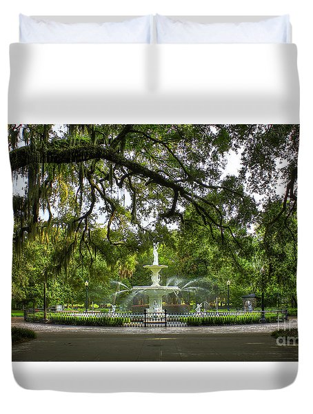 Forsyth Park Fountain Historic Savannah Georgia Duvet Cover