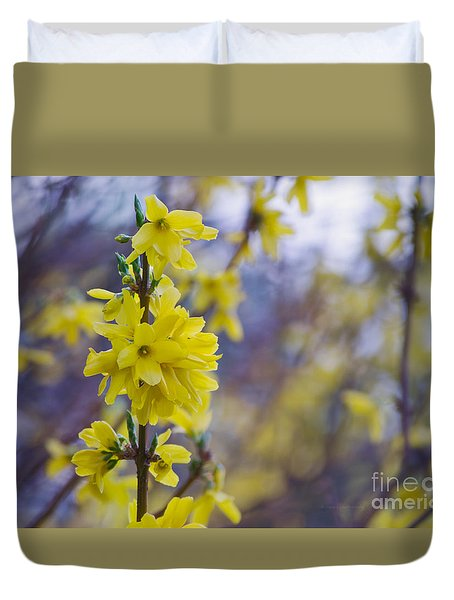 Duvet Cover featuring the photograph Forsythia by Rima Biswas