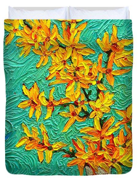Forsythia Vibration Modern Impressionist Flower Art Palette Knife Oil Painting By Ana Maria Edulescu Duvet Cover
