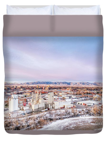 Fort Collins Aeiral Cityscape Duvet Cover