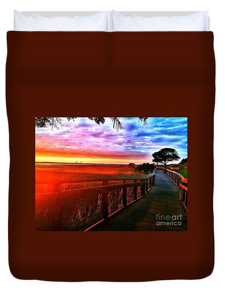 Fort Fisher  Duvet Cover by Amy Sorrell