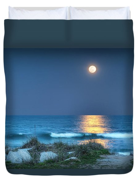 Fort Fisher Moonbeam Duvet Cover