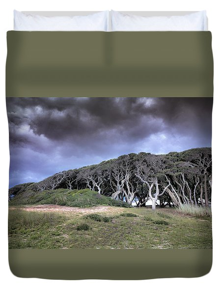 Fort Fisher Stormy Sunset Duvet Cover