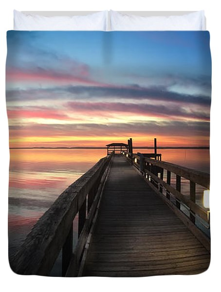 Fort Fisher Sunset Reverie With Heron Duvet Cover