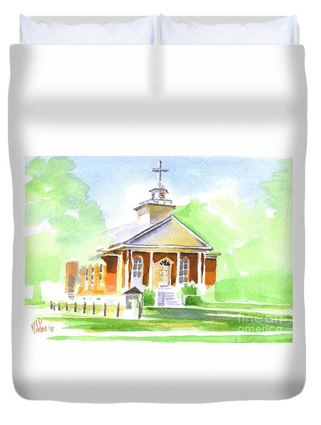 Duvet Cover featuring the painting Fort Hill Methodist Church 2 by Kip DeVore