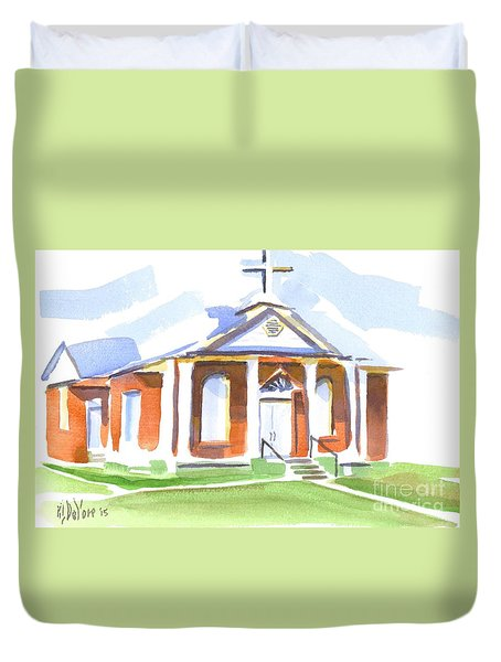 Duvet Cover featuring the painting Fort Hill Methodist Church by Kip DeVore