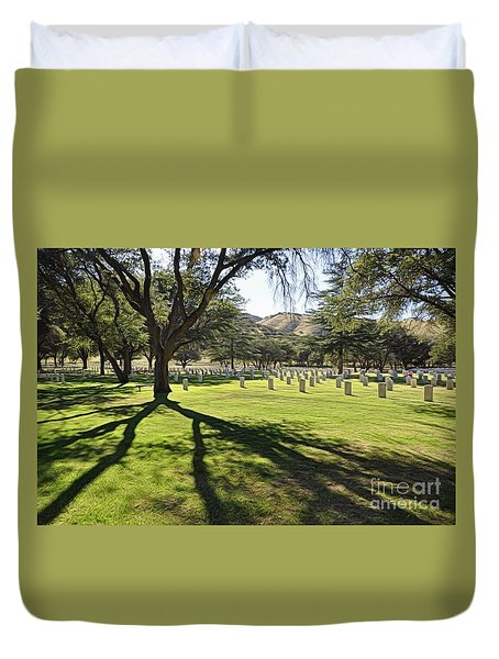 Duvet Cover featuring the photograph Fort Huachuca Post Cemetery by Gina Savage