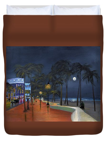 Fort Lauderdale Beach At Night Duvet Cover