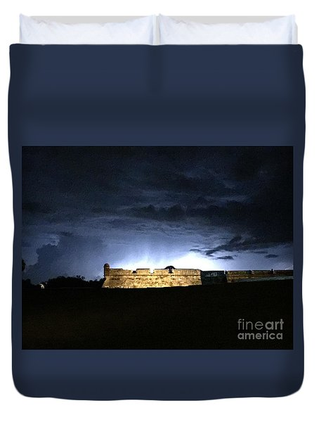 Lightening At Castillo De San Marco Duvet Cover