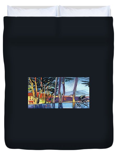 Fort Mason Bike Commute Duvet Cover by Colleen Proppe