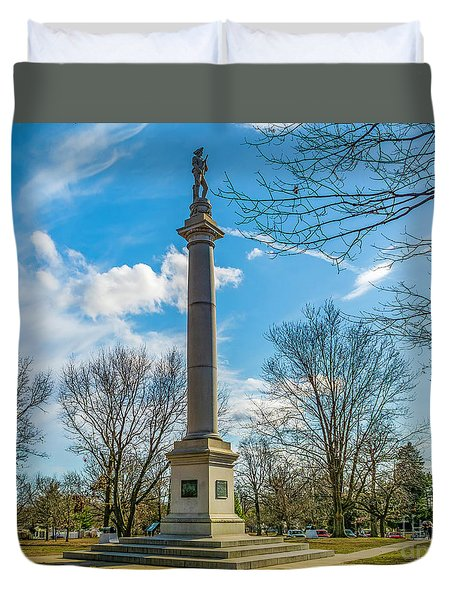 Duvet Cover featuring the photograph Fort Mercer Monument  by Nick Zelinsky