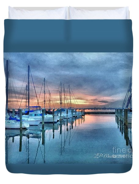Duvet Cover featuring the photograph Fort Monroe Afire by Linda Mesibov