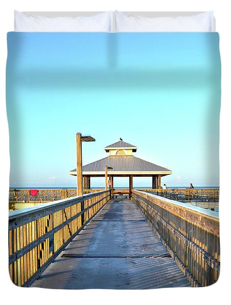 Fort Myers Beach Florida Fishing Pier Duvet Cover by Timothy Lowry